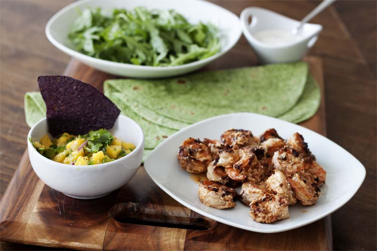 Sriracha Shrimp Wraps with Mango Salsa