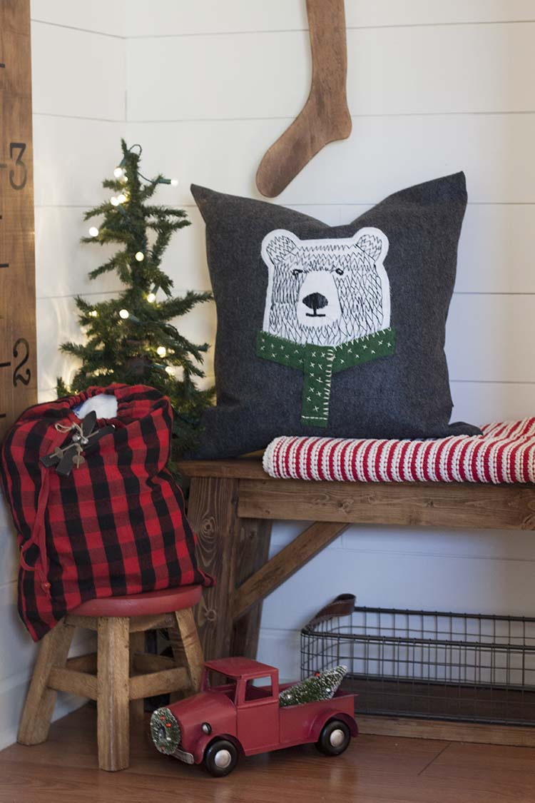 DIY Hand Stitched Bear Pillow