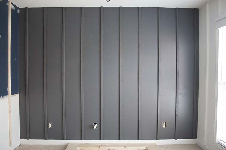 DIY Board Batten Black White Walls Bedroom