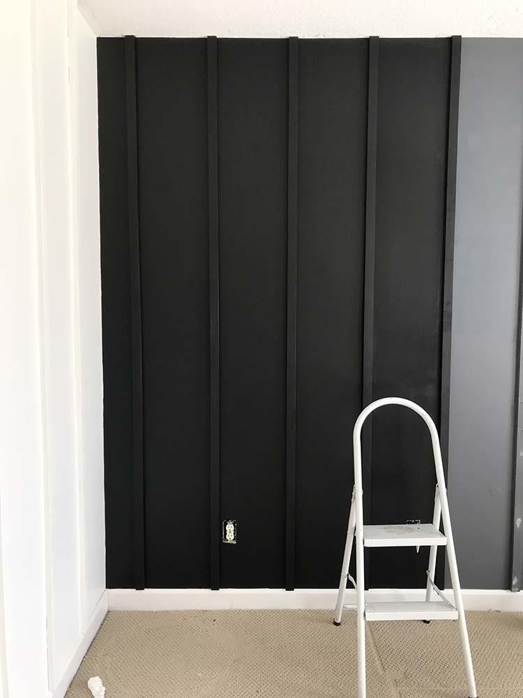DIY Board Batten Black White Walls Bedroom