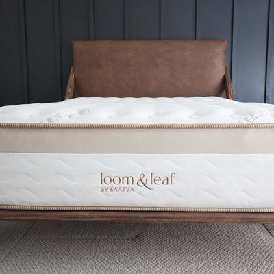 Saatva Loom & Leaf Foam Mattress Modern Bedroom Black Wall