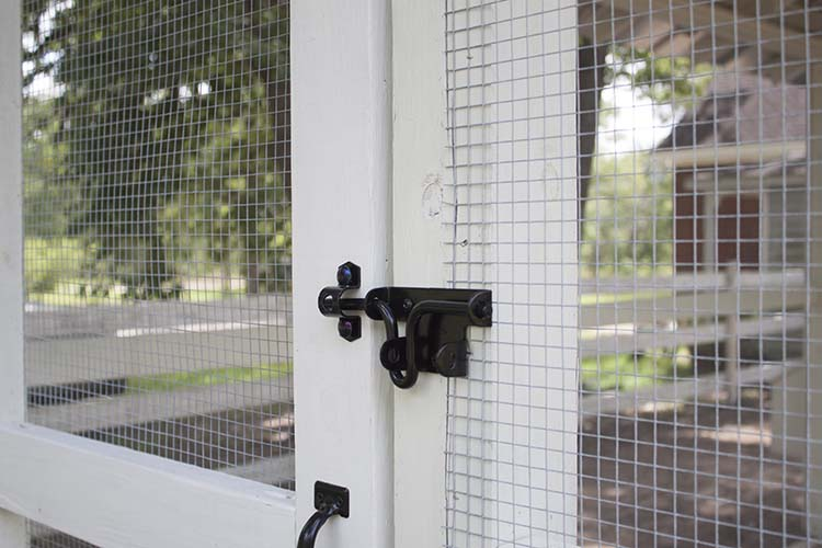 black door latch chicken coop run