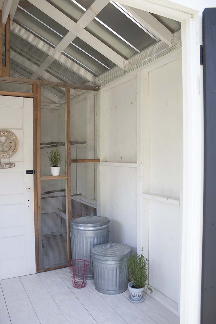 inside chicken coop storage