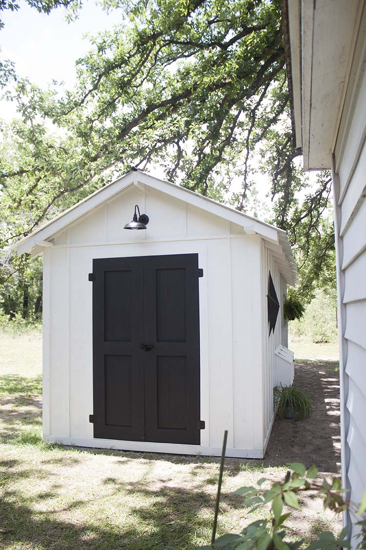 white shed black doors