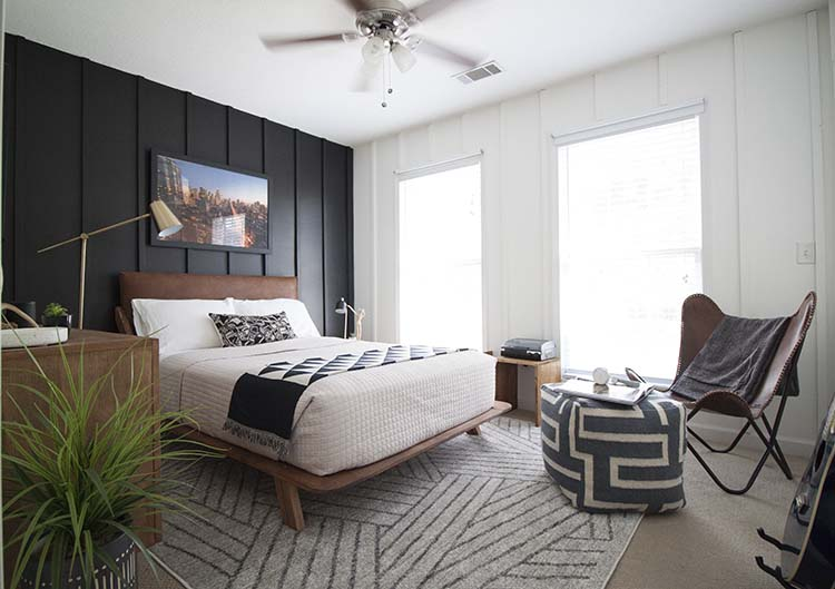 modern black and white bedroom