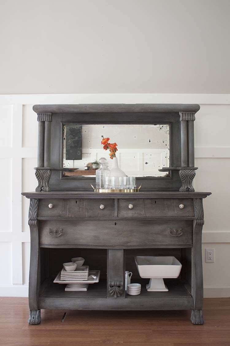 grey antique buffet white dishes - Antique Buffet Furniture Makeover Client Files - Southern Revivals