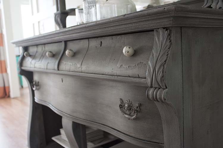 grey antique buffet drawers