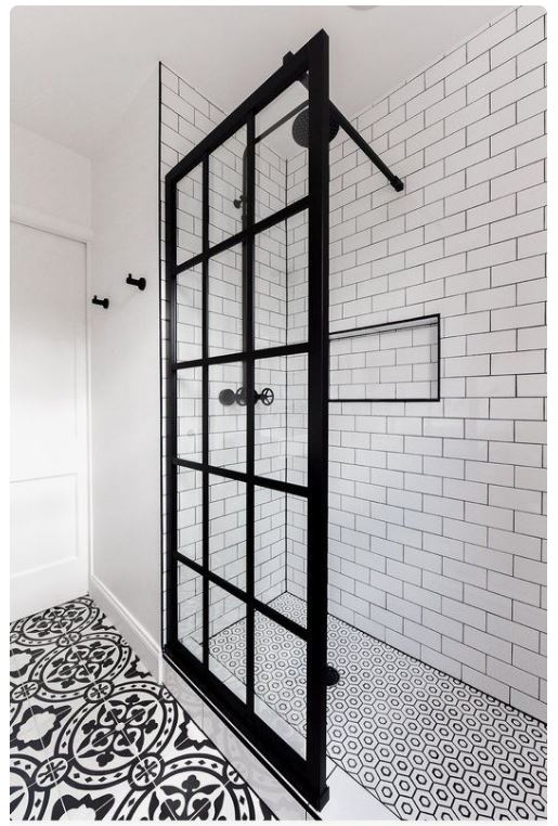 black grid shower door