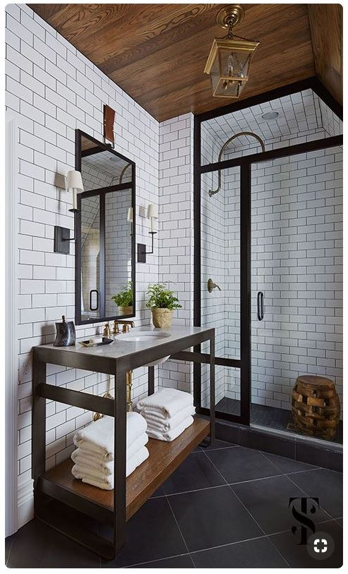 black and white bathroom warm wood