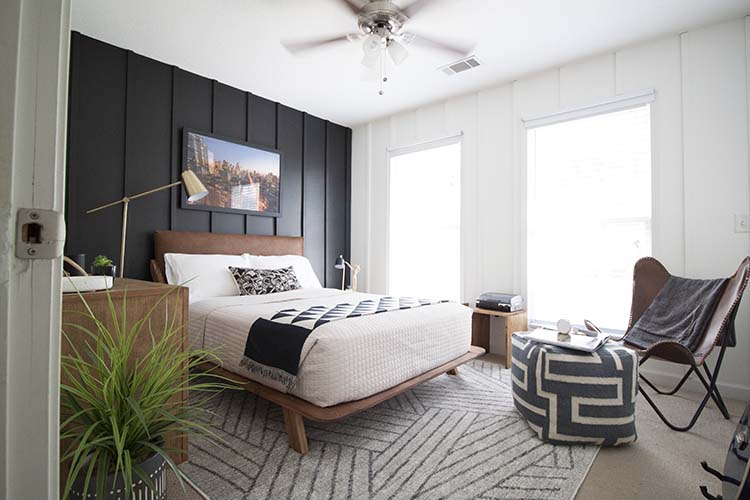 modern geometric bedroom black white walls