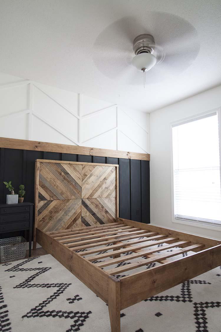 Herringbone reclaimed wood bed
