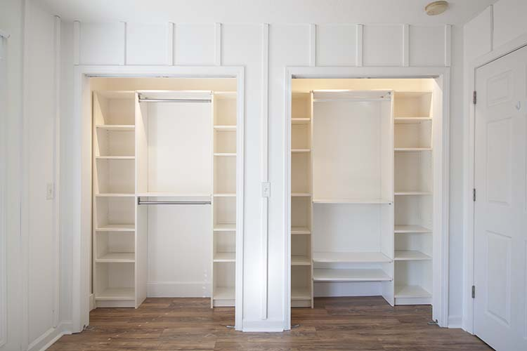 white double closet system
