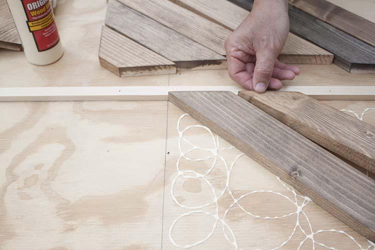 attaching wood pieces in herringbone pattern