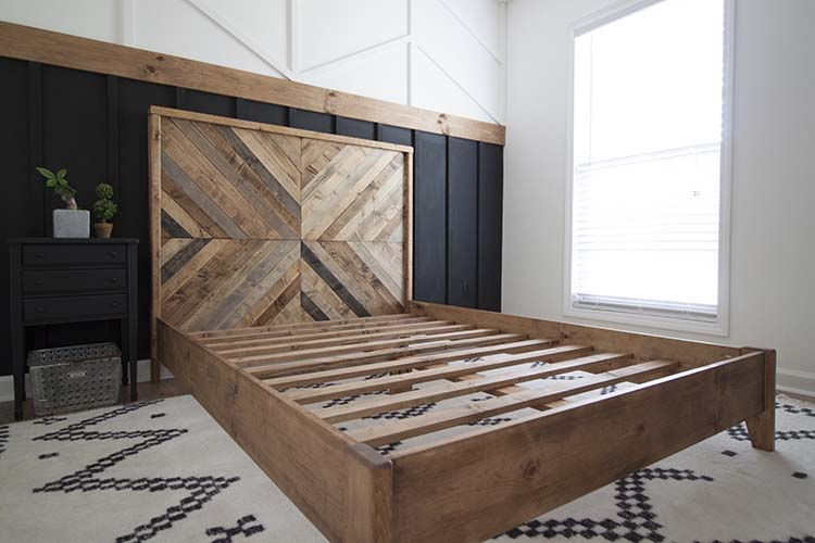 Herringbone reclaimed wood bed