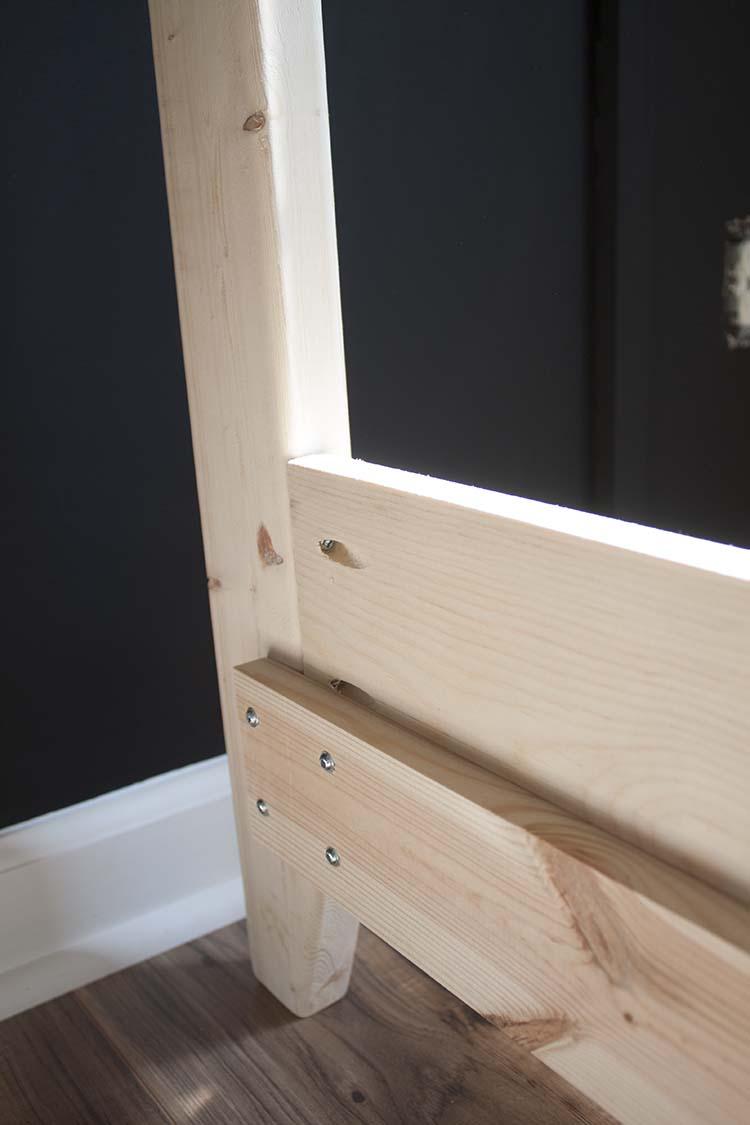 close up pocket holes unfinished bed frame