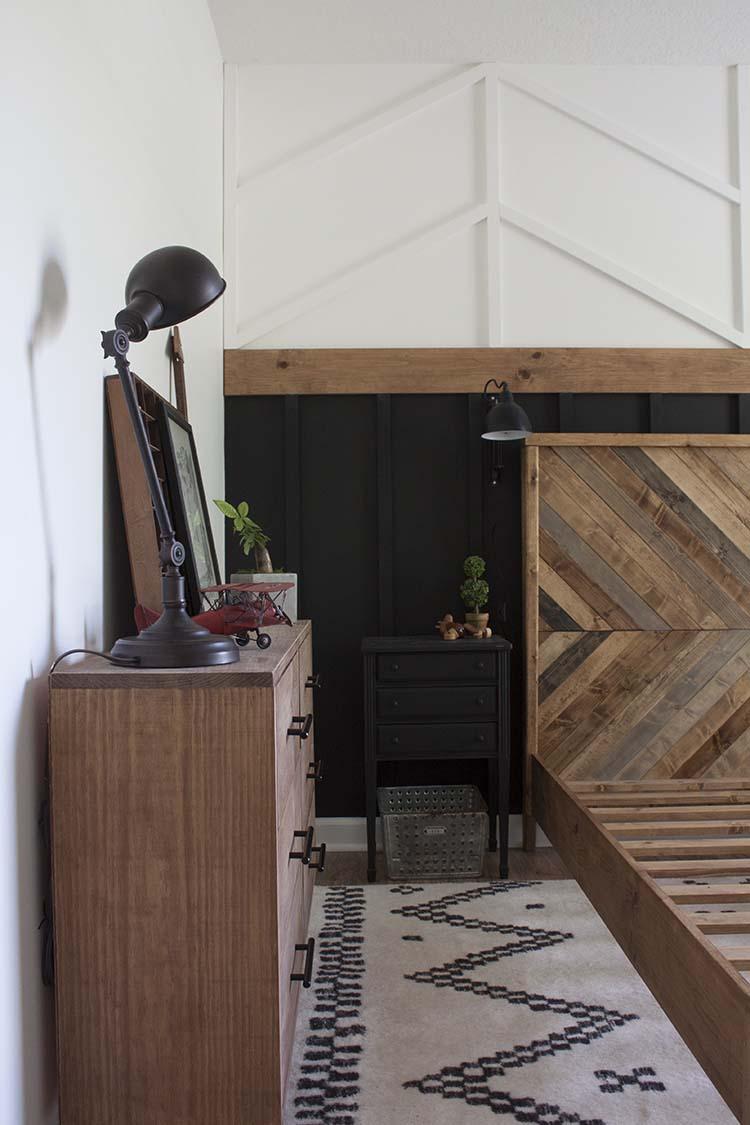 wooden dresser herringbone headboard